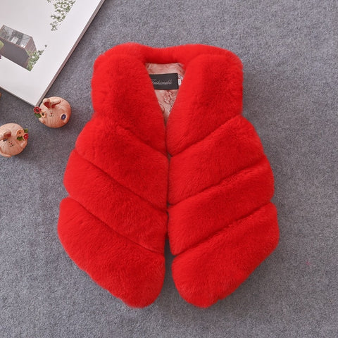 Girls Fur Gilet - Red