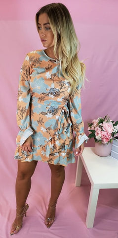 Floral Frill Hem & Sleeve Mini Dress