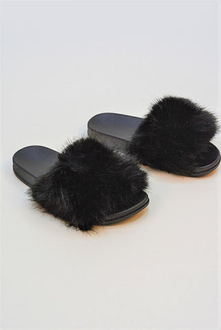DUSTY FLUFFY FUR SLIDERS BLACK