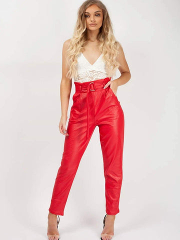 Wet Look Belted Tapered Trousers-Red