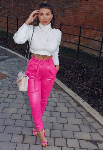 Wet Look Belted Tapered Trousers-Fuchsia