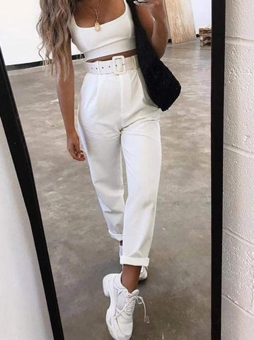WHITE TAILORED BELTED PANTS