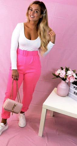 High Waisted Self Belt Tapered Trousers