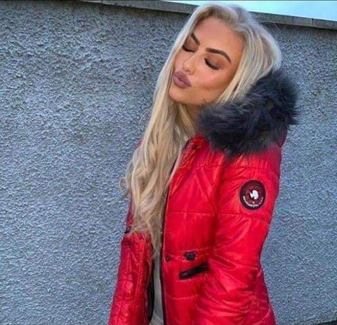 Faux Fur Hood Padded Jacket Red