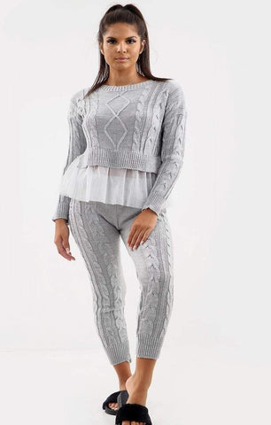 Chunky Knitted Layered Co-Ord Set Grey