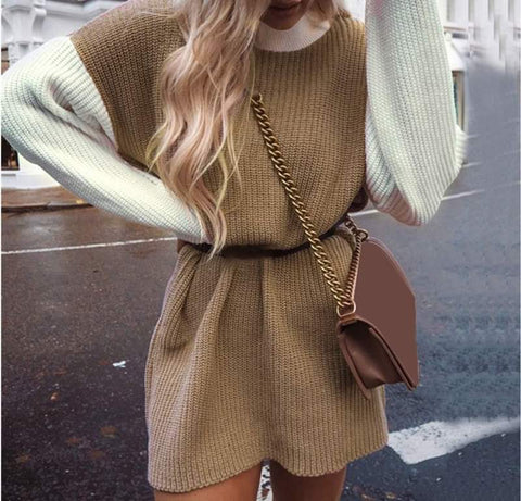 Two Tone Knitted Junmper Dress