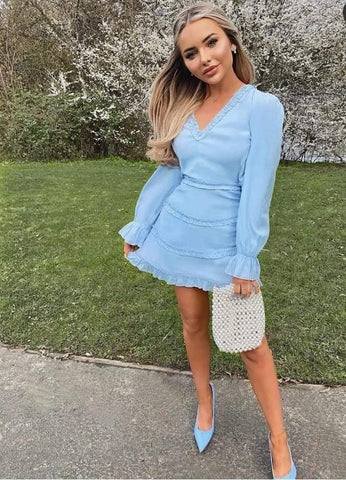 Tiered Detail Long Sleeve Cut Out Back Mini Dress