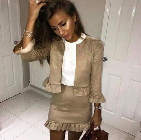 Faux Suede Frill Trim Mini Skirt Beigh
