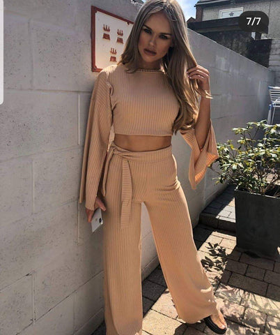 Split Sleeve Ribbed Crop Top & Trouser Co-ord-Stone