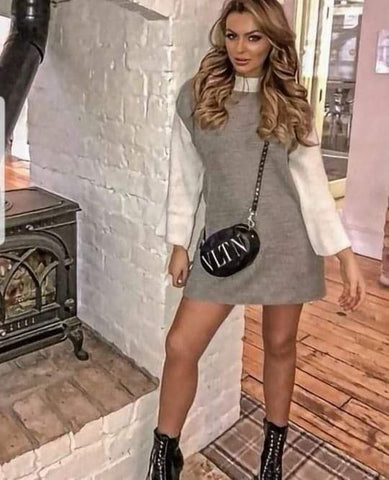 Contrast Sleeve Knitted Jumper Dress-Grey