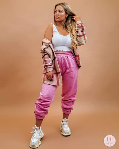 Oversized Fleece Joggers-Rose