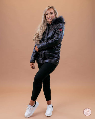 Faux Fur Hood Padded Jacket Black