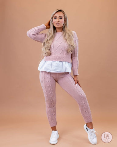 Pink Knitted Frill Lounge Wear