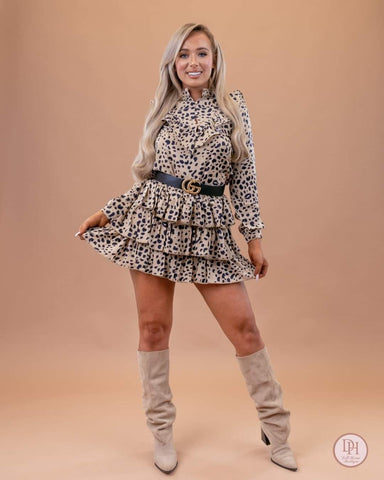ANIMAL PRINT FRILLED BLOUSE & MINI SKIRT CO-ORD