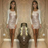Ladies Gold  Sequin Long Sleeve Dress