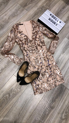 Nude Sequin Detail Bodycon Mini Dress