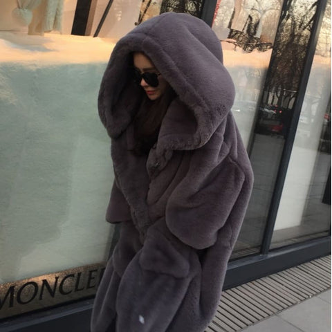 Faux Fur Oversized Overcoat Grey Pre Order 15 days Delivery