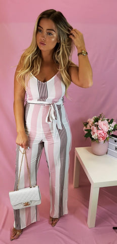 Vertical Multi Stripe Side Slit Waist Tie Detail Jumpsuit