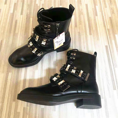 Diamond Buckle Boots