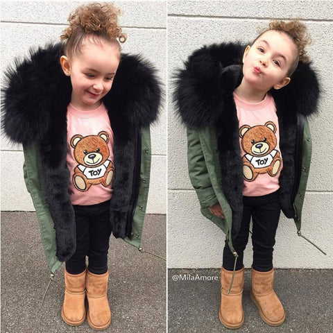 Kids Black Fur Parker Jacket