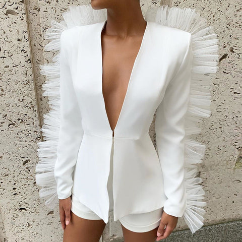 Ruffle Two Piece Blazer and Shorts