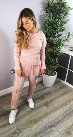 Chunky Knitted Layered Co-Ord Set Pink