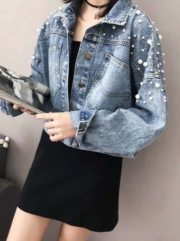 OVERSIZE PEARL DENIM JACKET