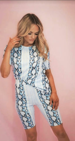 Snake Print Co Ord  Blue