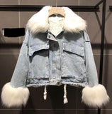OVERSIZE FUR LINED DENIM JACKET