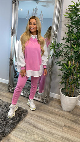Shirt Insert Long Line Knitted Loungewear Pink