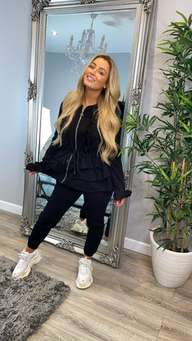 Layered Zip Front Long Sleeved Loungewear Set