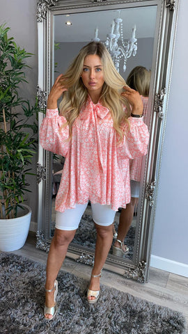Frill Print Tie Detail Blouse