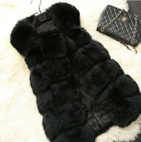 Faux Fur Ribbed Gilet-Black