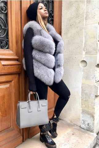 Faux Fur Ribbed Gilet-Grey PRE ORDER 10 DAYS DELIVERY