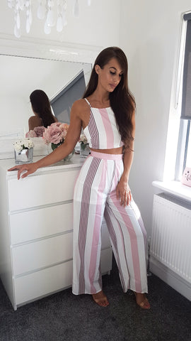 Multi Stripe Tie Back Crop Top & Wide Leg Trouser Co Ord Set