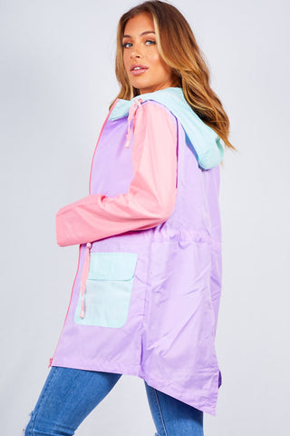 LILAC CONTRAST DRAWCORD FISHTAIL RAIN COAT