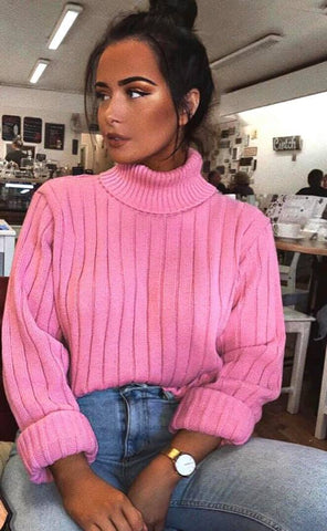 Kady Turtle Neck Knitted Jumper-Pink