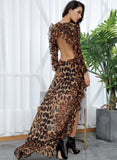Open Black Leopard Chiffon Dress