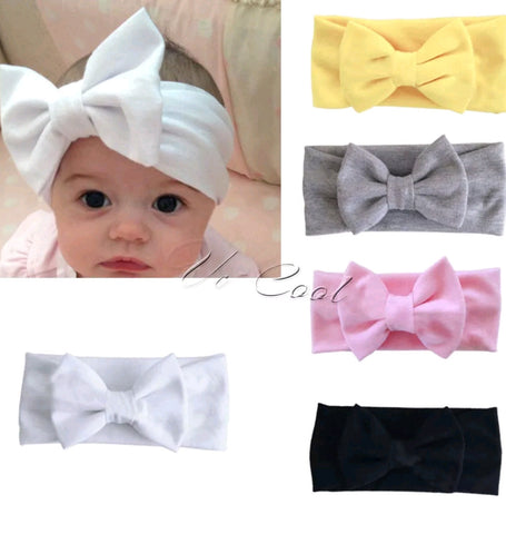 Baby White Head Band Bow