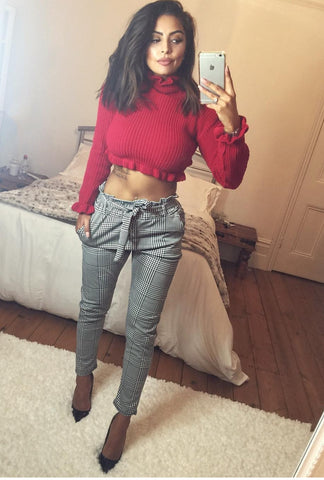 Ruffle Neck Cropped Knitted Jumper-Red
