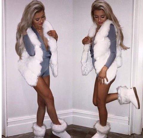 Faux Fur Ribbed Gilet