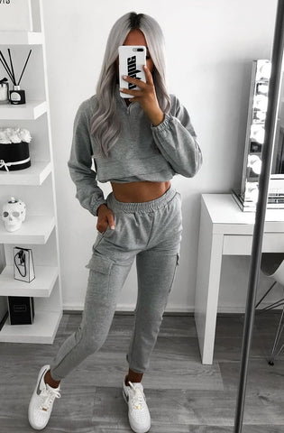 GREY FRONT POCKET HALF ZIP LOUNGE SET