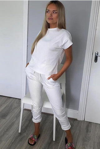 Ribbed Short Sleeve Boxy Loungewear Co-ord-White