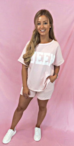 Queen Shorts & Top Set Pink