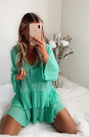 Mint Pleated Layered Shirt- Dress
