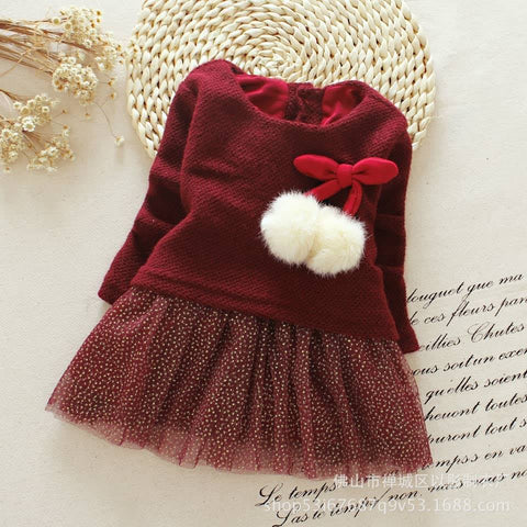Amber Wine Baby Girls  Dress