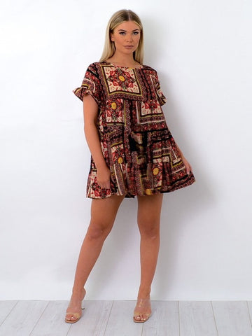 Floral Box Print Frill Tiered Smock Dress-Red