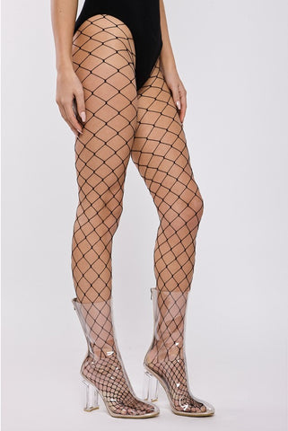 BLACK LARGE FISHNET TIGHTS