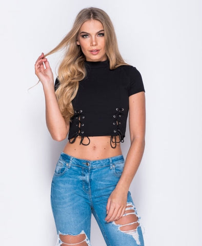 High Neck Tie Front Crop Top
