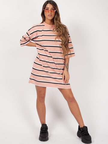 Striped Oversized Boyfriend Tunic T-Shirt-Nude